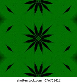 Green and black symmetry seamless ornamental hippie design