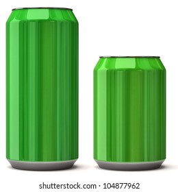 Green blank can isolated on white background