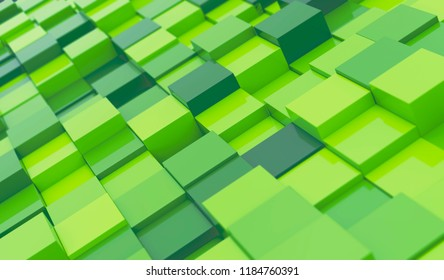 Green Blocks Abstract Background. 3D illustration