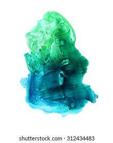 Green and blue abstract watercolor background. Hand drawn illustration for textures and backgrounds