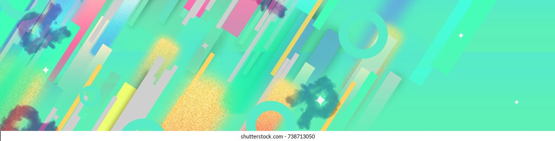 """Green Blue Color Background With Lines And ABC """"R""""."""