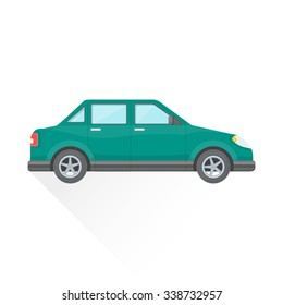 green blue color flat design four-door sedan body type vehicle illustration isolated white background long shadow