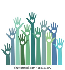 Green blue colorful caring up hands hearts logo design element. Volunteers hands up with heart emblem icon for education, health care, medical, volunteer, vote