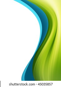 Green and blue dynamic wave over white background