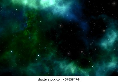 green blue galaxy with stars