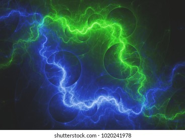 Green and blue lightning bolt, abstract electrical background