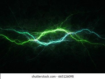 Green and blue lightning strike, electrical background