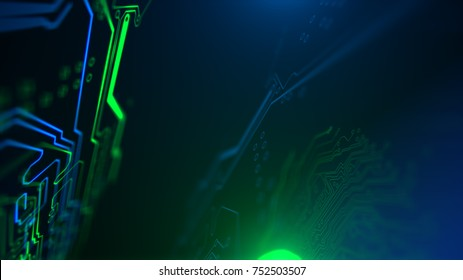 Green and Blue Motherboard Technology . Digital inegrated technology. Printed Circuit board. PCB. 3d illustration.