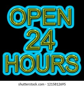 A green and blue neon OPEN 24 HOURS sign in 3D illustration isolated on black