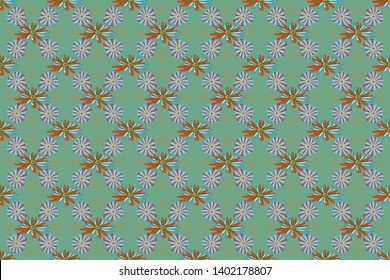 Green, blue and orange stained glass vitrage. Seamless pattern morrocan ornament. Floral textile print. Islamic raster oriental background with abstract flowers.