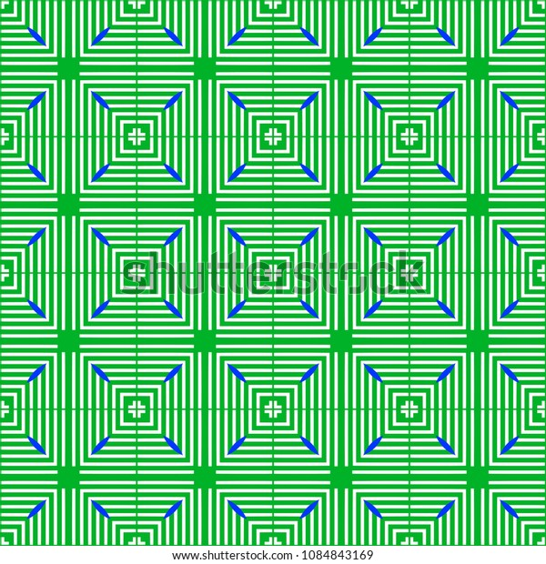 Green and blue seamless pattern with simple geometric ornate for brand, product, gift or card background