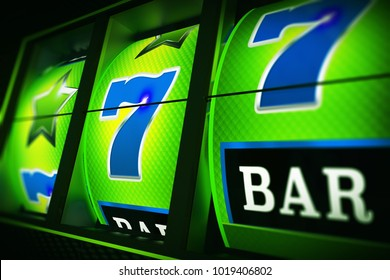 Green Blue Slot Machine 3D Rendered Closeup Illustration with Depth of Field. Lucky One Handed Bandit. Las Vegas Triple Seven.