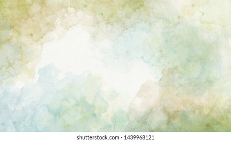 Green blue watercolor background abstraction