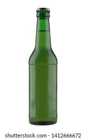 Green bottle Long Neck with liquid. 12oz (11 oz) or 355 ml (330 ml) volume. Isolated high resolution 3D render on a white.