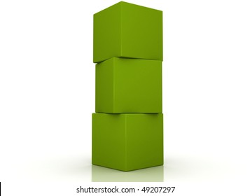 Green boxes stacked