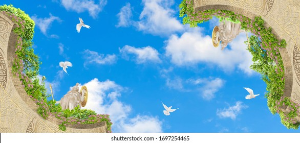 Green branches against the background of the summer sky. 3D rendering. Art ceiling. 3D wallpaper. Look up.