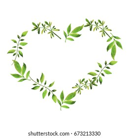 Green branches and leaves frame in a shape of heart. Hand drawn watercolor illustration.