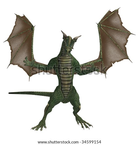 Green brown dragon standing with wings spread