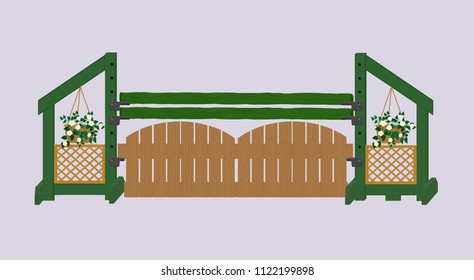 Green and brown gated hunter horse show jump with decorative hanging flowers and trellises on the jump standards.