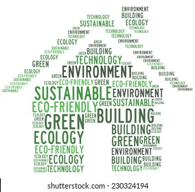 Green building related words collage
