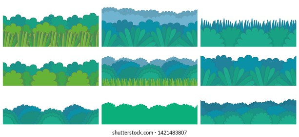 Green bush Border Set. Seamless pattern. isolated on white background