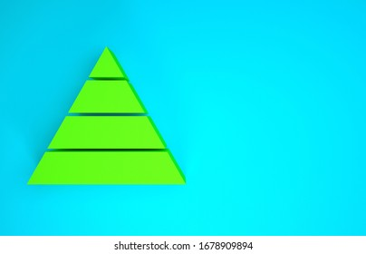 Green Business pyramid chart infographics icon isolated on blue background. Pyramidal stages graph elements. Minimalism concept. 3d illustration 3D render