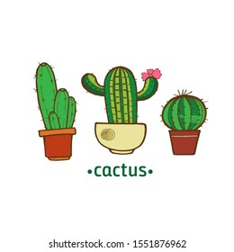 green cactus in a pot for decoration, stickers, cards, notebook covers