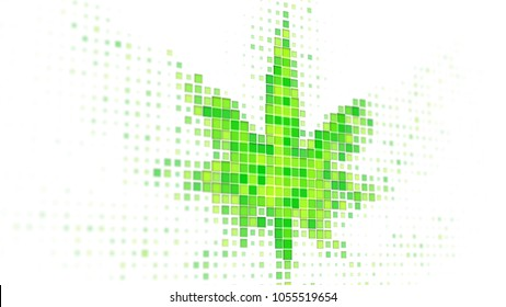 Green cannabis leaf shape on monitor. Computer generated 3D render