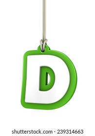 Green capital letter D hanging on rope with clipping path