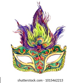 Green carnival mask with golden decoration, red gemstones and peacock feathers on top, isolated hand painted watercolor illustration