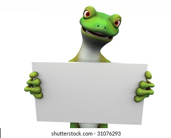 A green cartoon gecko holding a blank sign in its hands.