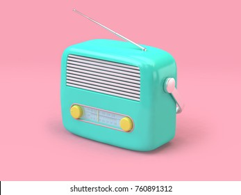 green cartoon radio set on minimal pink background technology concept 3d rendering