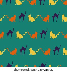 Green Cat seamless pattern background. Perfect for fabric, scrapbooking,  packaging, and invitation cards.