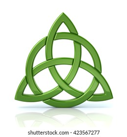 Green celtic trinity knot isolated on white background