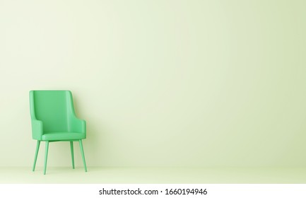 Green chair in pastel green living room. Minimal style concept. pastel color style. 3D render.