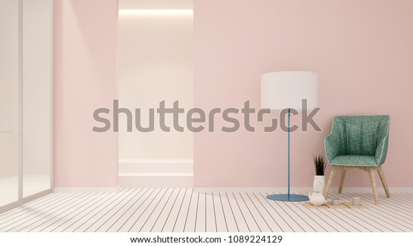 Green Chair Pink Wall Decorate Living Stock Illustration 1089224129