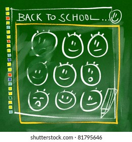 green chalkboard background - back to school doodles (happy faces)