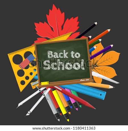 Royalty Free Stock Illustration of Green Chalkboard School Supplies
