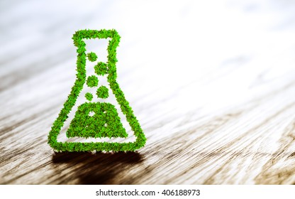 Green chemistry industry sign on wooden background. 3D rendering.