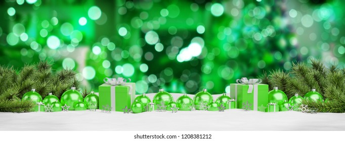 Green christmas gifts and baubles lined up on green background 3D rendering