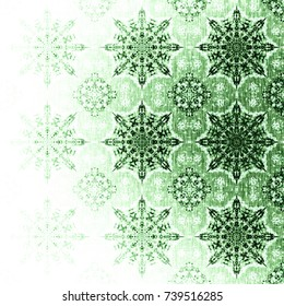 Green Christmas pattern with snowflakes. Elegant luxury texture with oriental elements. Emerald boho textile background