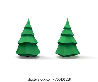 Green christmas tree. 3D image isolated on white