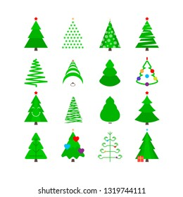 Green Christmas Tree Icon Set. Stylized Fir-trees of Different Shapes Isolated on White.