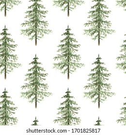 green christmas tree pattern on white background close-up. watercolor illustration