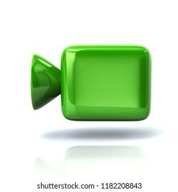 Green cinema camera icon 3d illustration on white background