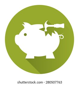 Green Circle Broken Piggy Bank With Hammer Flat Long Shadow Style Icon, Label, Sticker, Sign or Banner Isolated on White Background