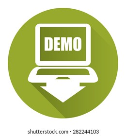 Green Circle Computer Laptop With Demo Text on Screen Monitor Flat Long Shadow Style Icon, Label, Sticker, Sign or Banner Isolated on White Background