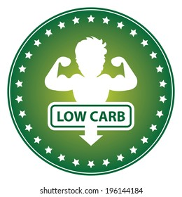 Green Circle Low Carb Sticker, Label or Icon Isolated on White Background
