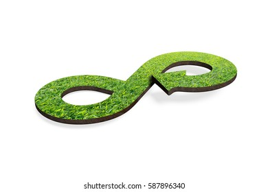Green circular economy concept. Arrow infinity symbol with grass, isolated on white, 3D rendering.