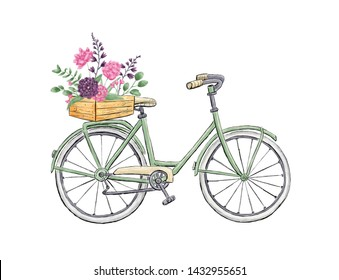 Green city bicycle with flowers in basket. Digital painting.